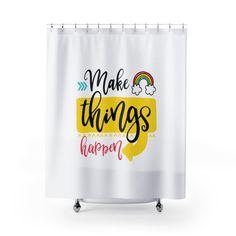 Inspirational Shower Curtains - White. by MbiziHome on Etsy Pet Urine, Shower Curtains, Inspirational, Bathroom, Etsy, Decor, Washroom, Decoration, Full Bath