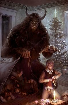 """Here is my holiday art for a (heartwarming) pic of Krampus, the happy creature of Germanic fables who tags along with Santa working the """"bad list"""". A Krampus In My Stylus Dark Fantasy Art, Fantasy Kunst, Dark Art, Arte Horror, Horror Art, Arte Obscura, Creepy Art, Scary, Monster Art"""