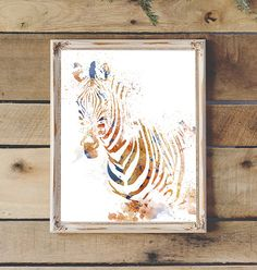 Zebra Watercolor Brown & Blue Printable by 2LittleCrownsPrints
