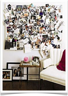 inspo board - all those random papers organized on the wall