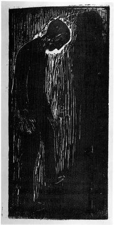 1. Op het schilerij zie je een persoon met zijn hoofd naar beneden gebogen. Er zijn alleen maar de kleuren zwart en wit gebruikt. 2. Het schilderij geeft een erg depressieve uitstraling. Dit komt door de zwart wit kleuren en de wijze hoe de toetsen met het schilderen zijn geplaatst. Al met al is het een erg depressief beeld.