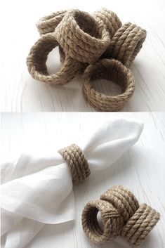 Jute Rope Napkin Rings - Diy and crafts interests Rustic Napkin Rings, Rustic Napkins, Diy Napkin Rings, Wedding Napkin Rings, Rope Crafts, Diy And Crafts, Deco Nouvel An, Decoration Evenementielle, Decorations