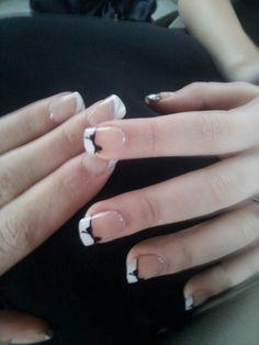 Black ribbon nail art on a white french manicure ♥