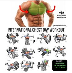 Chest work out Fitness Workouts, Fitness Motivation, Gym Workout Tips, Fitness Tips, Muscle Fitness, Mens Fitness, Chest Day Workout, Chest Workouts, Short Workouts