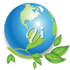 iCLIPART - illustration, green branch with drop on blue globe