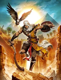 Really hoping Assassins Creed Origins builds on the series isn't just another one. Assassins creed Origins by GENZOMAN Arte Assassins Creed, Assassins Creed Origins, Assassins Creed Odyssey, All Assassin's Creed, Assassin's Creed Wallpaper, Arte Cyberpunk, Video Game Art, Video Games, Ancient Egypt