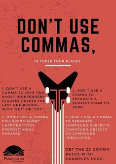 Check out the 22 Comma Rules with examples from Pennington Publishing's Grammar Mechanics Spelling and Vocabulary (Teaching the Language Strand) grades 4 5 6 7 and 8 programs. Time to learn those English grammar rules mechanics language conventio English Grammar Rules, Grammar Tips, Grammar And Punctuation, English Writing Skills, Teaching Grammar, Grammar Lessons, Teaching Writing, Writing Help, English Lessons