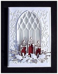 """Memory Box Die Stunning """"Glowing Candle Trio"""" Cut Emboss or Stencil New Homemade Christmas Cards, Christmas Cards To Make, Xmas Cards, Homemade Cards, Cricut Christmas Cards, Christmas Ideas, Christmas Crafts, Stencil, Origami"""