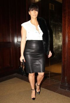 Kim Kardashian Pencil Skirt - Kim Kardashian chose a sleek leather skirt for her look while out in Beverly Hills.