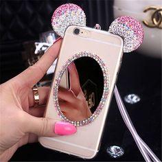 New Luxury 3D Diamond Mirror Glitter Mickey Minnie Ears Rhinestone TPU Phone…