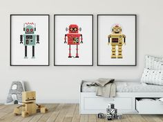 Boys Bed Canopy, Robot Bedroom, Vintage Robots, Retro Robot, Bedroom Themes, Nursery Prints, Room Decor, Art Decor, Kids Room