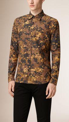 Camouflage Print Cotton Shirt Honey | Burberry