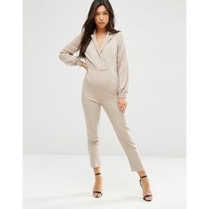 3818a24f1eef ASOS Long Sleeve Jumpsuit with Collar and Wrap Front ( 24) ❤ liked on  Polyvore