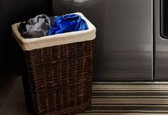 A hamper filled with laundry sorted by color. Laundry Sorting, Doing Laundry, Maytag Washing Machine, Hamper, Washing Clothes, Sewing Projects, Clothing, Random, Color