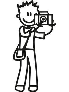 Autosticker van vader / man die graag met de foto camera in de weer is. Vul de sticker aan met de andere gezinsleden. Prijs €2,49 Vader, Doodle Drawings, Man, Cricut, Doodles, Templates, Stickers, People, Crafts