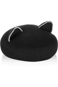Caterina pearl-embellished woven hat #accessories #covetme #eugeniakim
