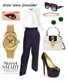 """Off Duty Gucci"" by vcvintage on Polyvore featuring Yves Saint Laurent, Jacquemus, Gucci, Rolex, Christian Louboutin and Kate Spade"