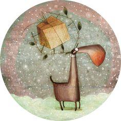 """Anna Laura Cantone carte postale ronde (13.8 cm) """"Le cadeau du renne"""""""