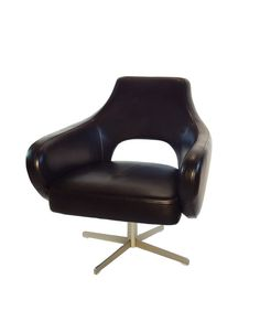 Black Leather Swivel Chair By City Collection