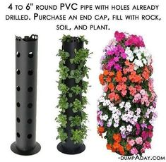 cheap, easy beautiful way to create vertical garden.put in among other plants in the garden.space saverA cheap, easy beautiful way to create vertical garden.put in among other plants in the garden. Backyard Garden Landscape, Small Backyard Gardens, Garden Landscaping, Vertical Gardens, Balcony Garden, Container Vegetables, Container Gardening, Vegetables Garden, Flower Gardening