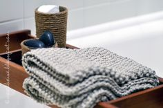 upcycled jute jars and a new bathmat