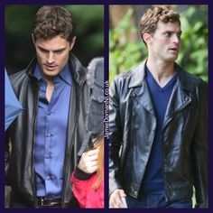 """""""He's wearing a black leather jacket... He looks like a boy from the wrong side of the tracks..."""" #JamieDornan #FSOG"""