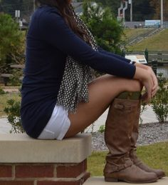 white shorts , blue cardigan , tan boots , scarf . summer / fall outfit .