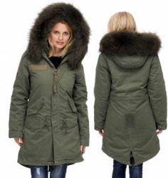 Damen #Winterparka mit Fell Form: Lang Farbe: #Khaki (olive)  #rosa #grau #grün- Bild vergrößern