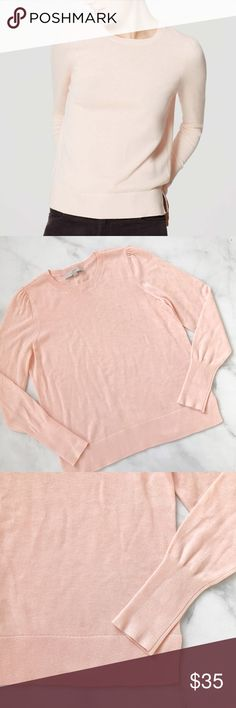LOFT Puff Sleeve Sweater in Pink Blush Beautiful blush pink sweater from LOFT. Polyester/Rayon/Wool blend. Size M. Like-new condition. No flaws, no signs of wear. LOFT Sweaters Crew & Scoop Necks