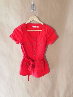 Womens New York & Company Stretch Red Blouse Button Up Shirt XS #NewYorkCompany #Blouse #Casual