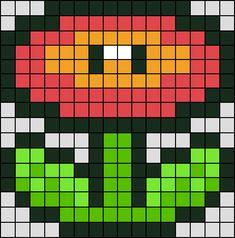Patron / Pattern : Fleur de Feu Super Mario NINTENDO en Perle HAMA (Mini) Taille de la grille 16 x 16 (soit environ 4,0 x 4,0 cm) Nombre de perles totales : 216 (sans le fond, que la fleur)