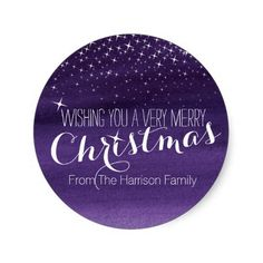 Christmas starry night stars purple round stickers by Mylittleeden