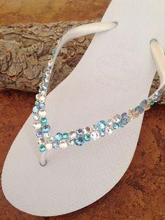 Custom Havaianas Slim Flip Flops White w/ by GlassSlippersCC