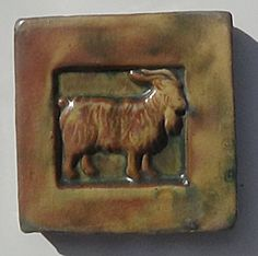 A 4 inch tile depicting a goat made by Mercer circa Nice muted colors. Antique Tiles, Muted Colors, Goats, Mosaic, Pottery, Antiques, Design, Soothing Colors, Ceramica