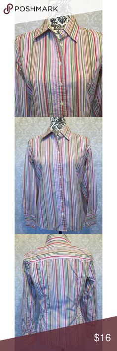 J. Crew striped button-up shirt Timeless, seasonless button-up J. Crew shirt. Colorful but not outrageous with thin stripes in pinks, greens, yellows, and white. Triple-button cuffs can be buttoned back. Professional details include flattering, shaping seams. Wardrobe staple! J. Crew Tops Button Down Shirts