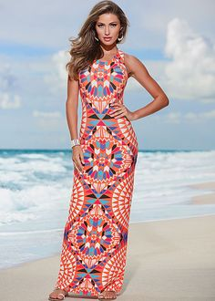 Printed maxi dress in the VENUS Line of Dresses for Women