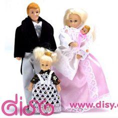 Personajes casas de muñecas - Familia Victoriana 4 pc de vinilo - 00040Personajes, Muebles y accesorios - miniaturas para casas de muñecas escala 1:12