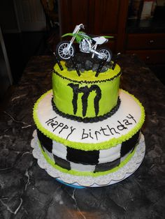 monster energy drink cake i did for my nephew. crumbled up cake and black icing for the dirt and had some grey fondant let over and made some rocks to go on top.