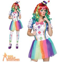 Adult Crazy Colour Clown Costume Ladies Circus Halloween Fancy Dress Outfit New