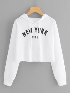 Plus Letter & Number Graphic Drawstring Hoodie - Fashion Style Teenage Outfits, Outfits For Teens, Cool Outfits For Girls, Cute Clothes For Teens, Girls Fashion Clothes, Teen Fashion Outfits, Crop Top Outfits, Cute Casual Outfits, Hoodie Sweatshirts