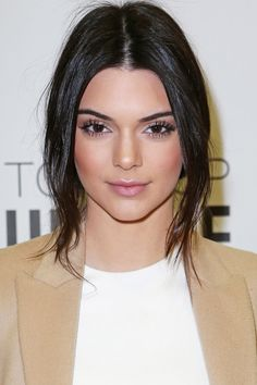 16 hair and makeup ideas to copy from the Kardashian and Jenners: Kendall Jenner's rosy blush and wispy half pulled back hair