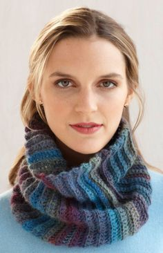 'Fast and Easy Cowl' pattern from Lion Brand Yarn. Uses 2 skeins Amazing yarn in ruby. Sc blo.
