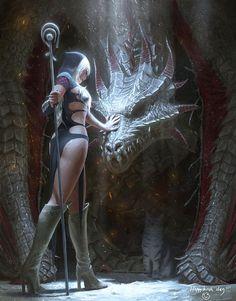 Hechicera y dragon
