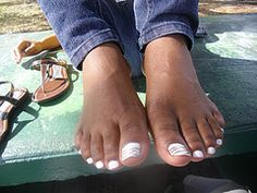White Nail Polish On Brown Feet African American Black Girl Nails Darkskin