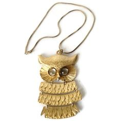 Vintage Articulated Owl Pendant Necklace Clear Glass Cabochon Eyes by EraAntiquesandFinds on Etsy