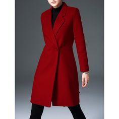 Wool Blend Solid Long Sleeve Elegant Lapel Coat ($89) ❤ liked on Polyvore featuring outerwear, coats, red coat, long sleeve coat, wool blend coat and lapel coat