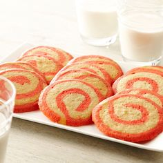 These cookies, with a pink swirl of peppermint flavored dough, are perfect for a holiday cookie exchange.