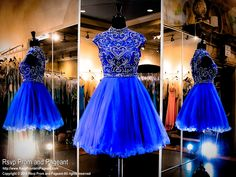 This fabulous short dress features a fitted bodice heavily beaded with sparkling crystals cascading from the high neckline to the cap sleeves to the keyhole back. Available in royal blue and it's at Rsvp Prom and Pageant, your Atlanta Prom Store!