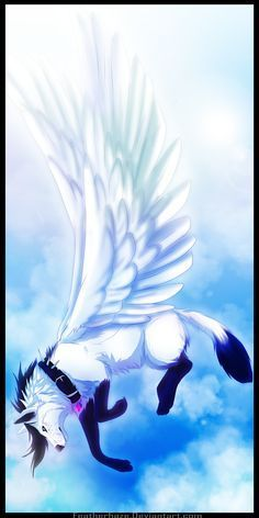 This is how my friends discribe me ,anime wolf with wings Cute Fantasy Creatures, Animal Art, Animal Drawings, Fantasy Art, Anime Wolf Drawing, Creature Art, Anime Animals, Art, Mythical Creatures Art