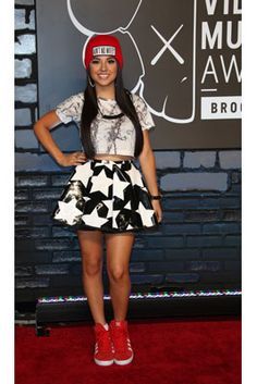 The Best Looks from the 2013 MTV Video Music Awards: Becky G in a Dimepiece beanie and LaQuan Smith skirt